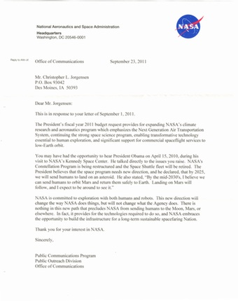 Scan of the letter from NASA