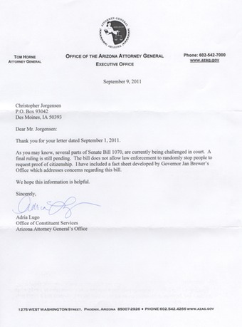 Scan of the letter from Arizona Attorney General Tom Horne.