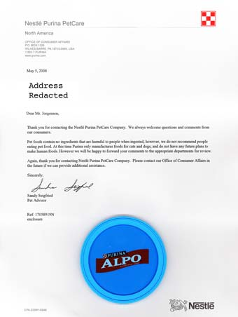 Scans of the letter from Alpo