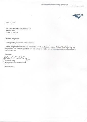 Scan of the letter from Antrak