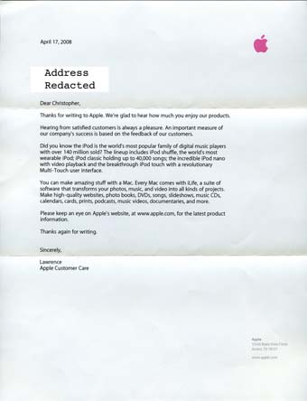Scans of the letter from Apple