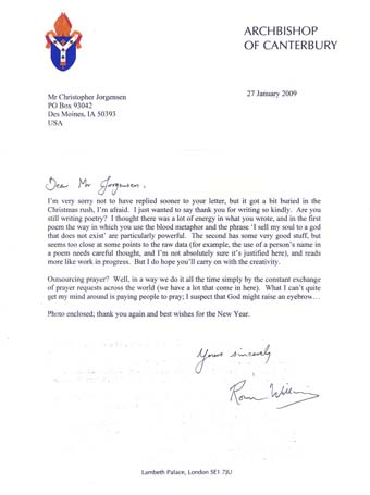 Scan of the letters from Archbishop,of Canterbury, Dr. Rowan Williams