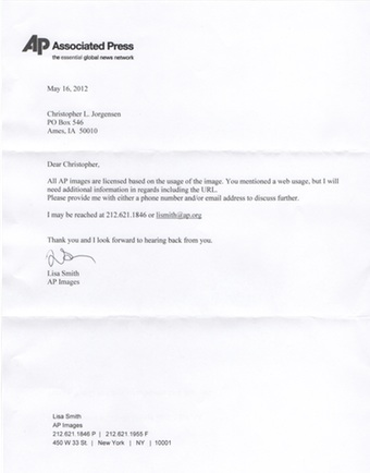 Scan of the letter from Associated Press.