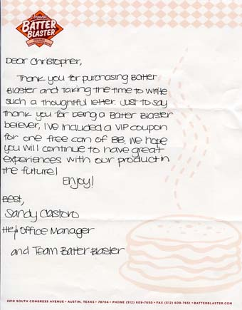 Scans of the letter from Batter Blaster