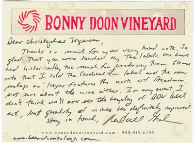 Scan of the post card from Bonny Doon