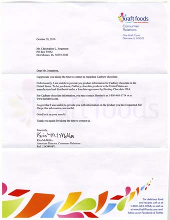 Scan of the letter from Kraft