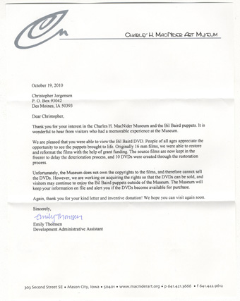 Scan of the letter from Charles MacNider Museum