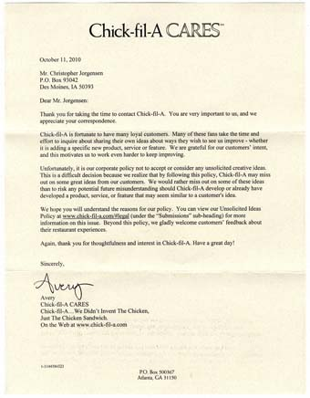 Scan of the letter from Chick-Fil-A