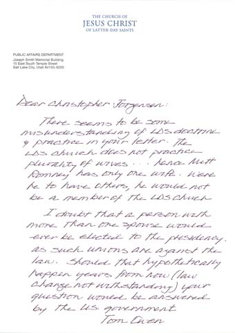 Scan of the letter from The Church of Jesus Christ of Latter-Day Saints