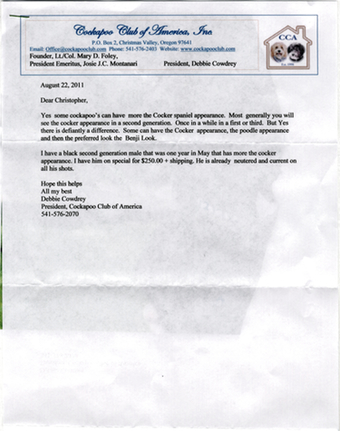 Scan of the letter from Cockapoo Club of America