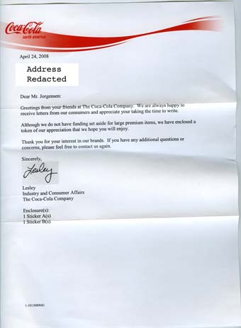 Scan of the letter from Coke