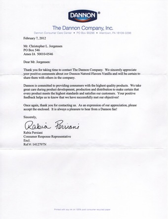 Scan of the letter from Dannon Yogurt