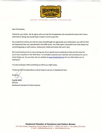 Scan of the letter from Deadwood Chamber of Commerce and Visitors Bureau