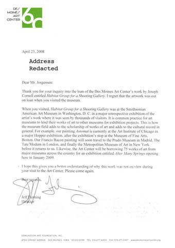 Scan of the letter from Des Moines Art Center