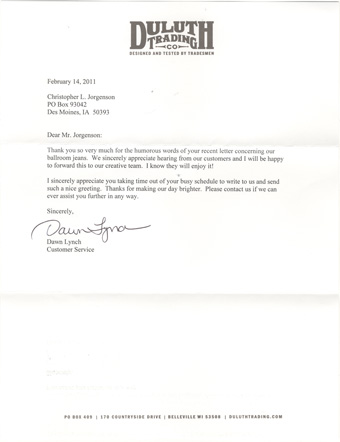 Scan of the letter from the Duluth Trading Company.