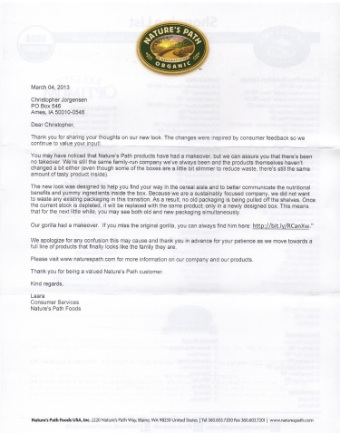 Scan of the letter from Nature's Path Foods