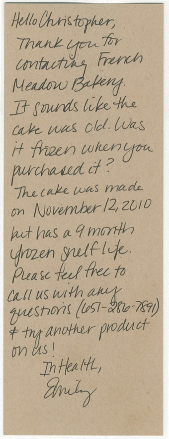 Scan of the letter from French Meadow Bakery