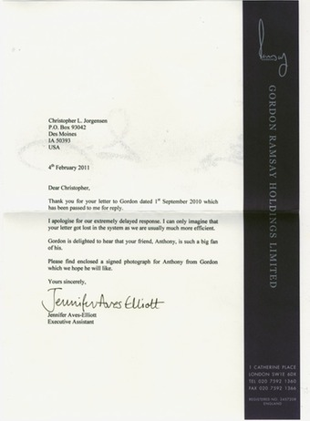 Scan of the letter from Gordon Ramsay