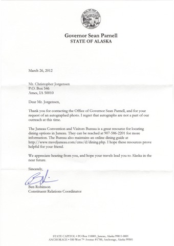 Scan of the letter from Gov. Sean Parnell