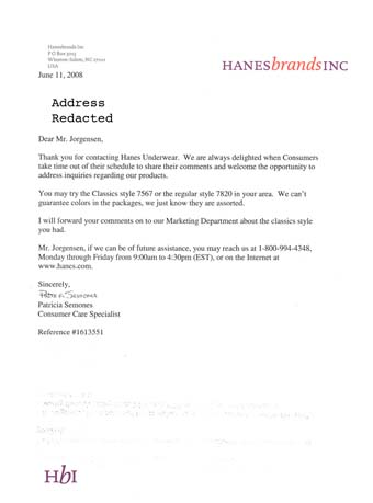 Scan of the letter from Hanes