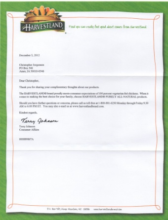 Scan of the letter from Harvestland.
