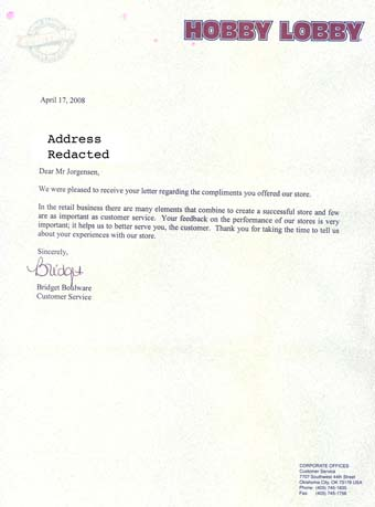 Scan of the letter from Hobby Lobby