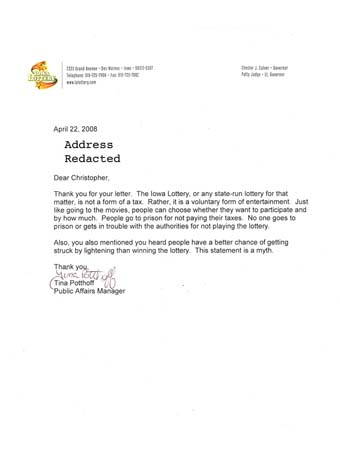 Scan of the letter from Iowa Lottery