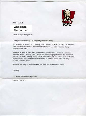 Scan of the letter from KFC
