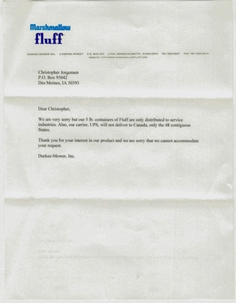 Scan of the letter from Marshmallow Fluff