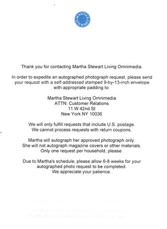 Scan of the letter from Martha Stewart