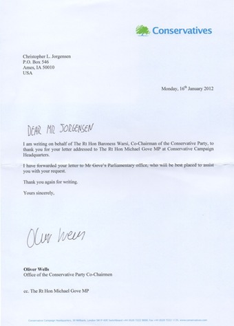Scan of the letter from Member of Parliament Michael Gove