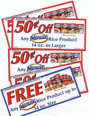 Scans of the coupons from Minute Rice