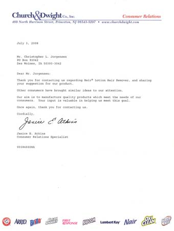 Scan of the letter from Nair