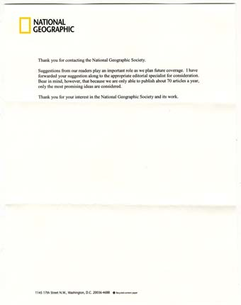 Scan of the letter from National Geographic