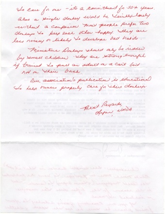 Scan of the letter from National Miniature Donkey Association