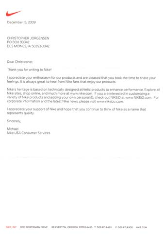 Scan of the letter from Nike