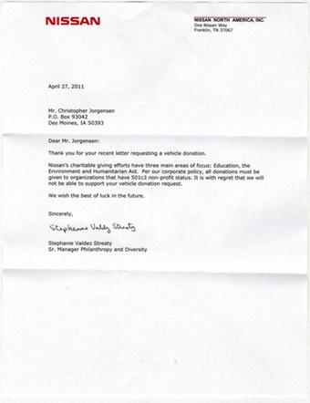 Scan of the letter from Nissan