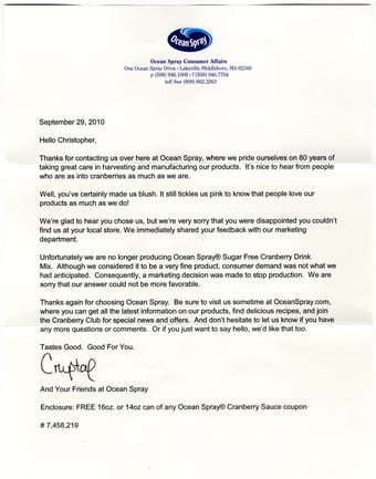 Scan of the letter from Ocean Spray