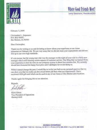 Scan of the letter from Okoboji Grill