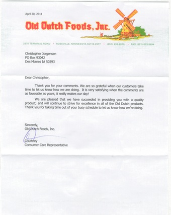 Scan of the letter from