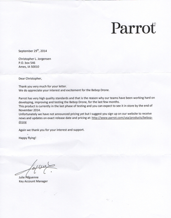 Scan of the letter from Parrot SA