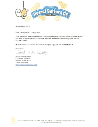 Scan of the letter from Peanut Butter Co.