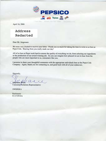 Scan of the letter from Pepsi