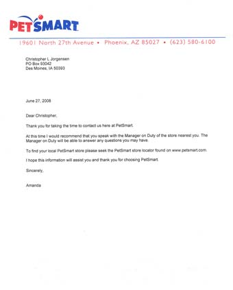 Scan of the letter from PetSmart