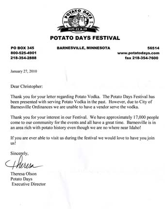 Scan of the letter from Barnesville Potato Days