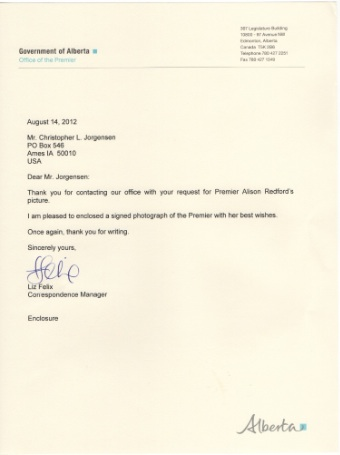 Scan of the letter from Premier Alison Redford