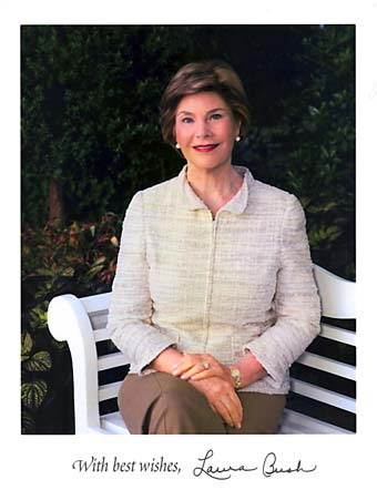 Scan of a photo of Laura Bush