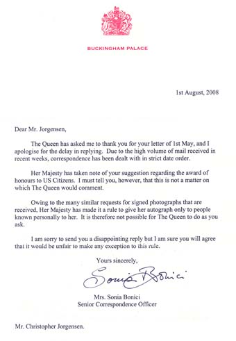 Scan of the letter from The Queen England's secretary