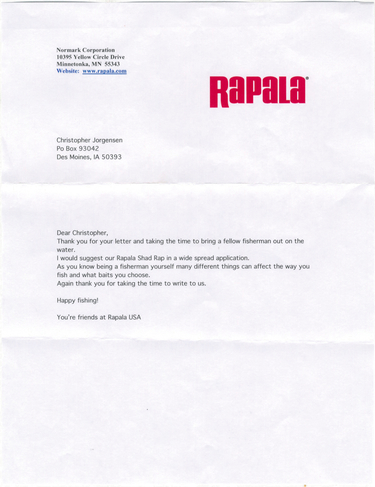 Scan of the letter from Rapala