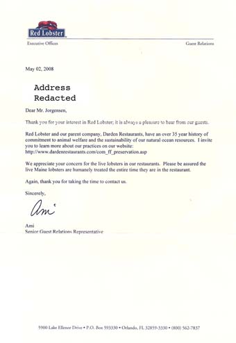 Scan of the letter from Red Lobster